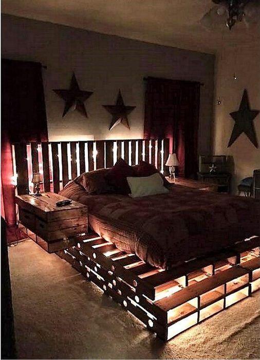 Oryginalne podświetlane łóżka paletowe